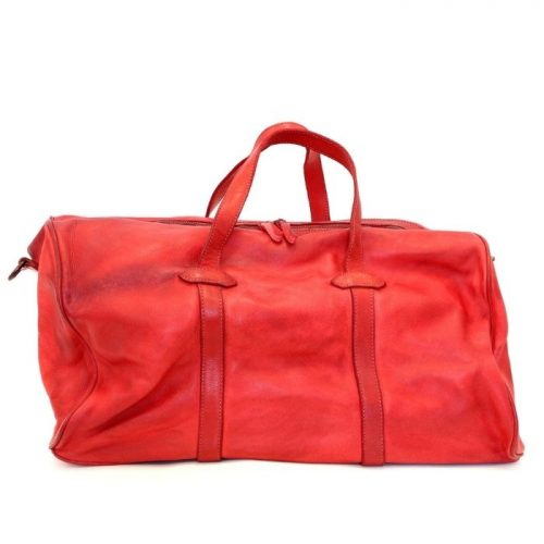 GAIA Leather Travel Bag Red