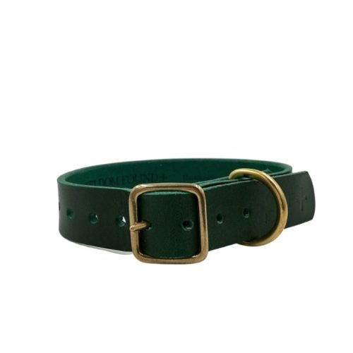 Artisan Leather Dog Collar Forest Green
