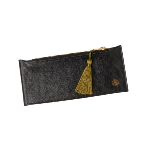 Leather Pencil Case Black With Gold Tassel