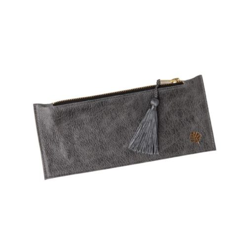 Leather Pencil Case Grey With Grey Tassel
