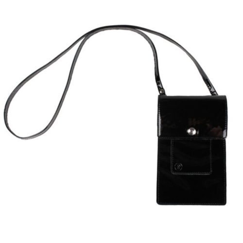 Leather Phone Bag Lacquer Black