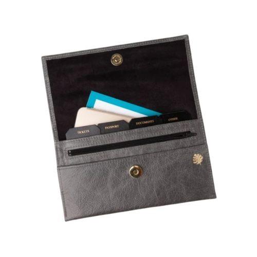 Leather Travel Organiser Grey