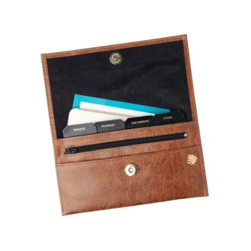 Leather Travel Organiser Tan