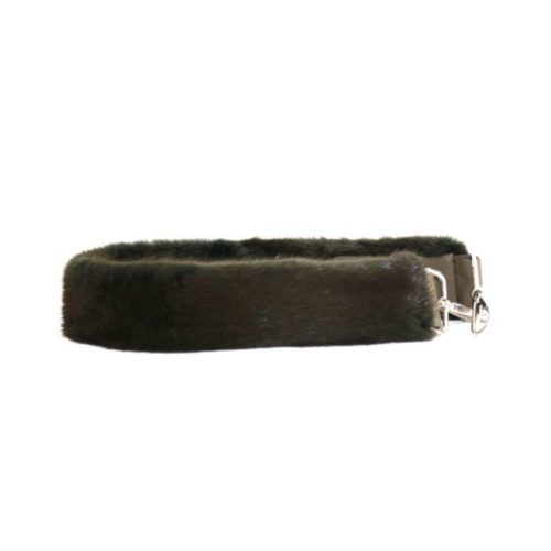Fur Shoulder Strap Dark Brown