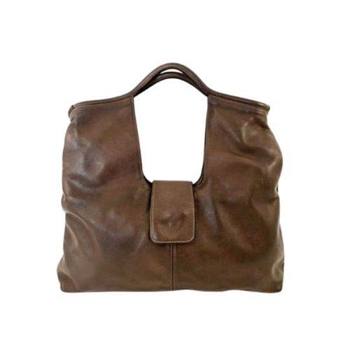 ALESSIA Square Shoulder Bag Dark Brown