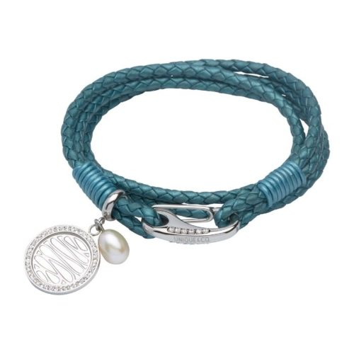 UNIQUE & CO WOMEN'S LEATHER BRACELET WITH PEARL CHARM AND CRYSTAL SHRIMP CLASP