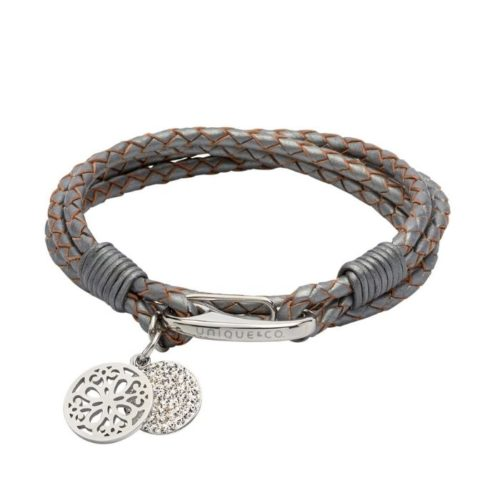 Unique & Co Women's Leather Bracelet With Round Charms Silver Grey
