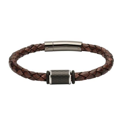 Unique & Co Men's Leather Bracelet With Brown & Steel Element – Antique Brown