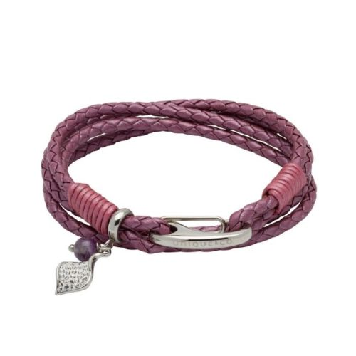 UNIQUE & CO WOMENS LEATHER BRACELET WITH CRYSTAL CHARM FRUIT PUNCH