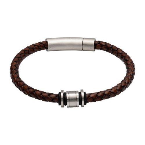 Unique & Co Men's Leather Bracelet With Steel Elements Antique Brown
