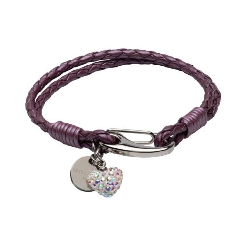 Unique & Co Women's Leather Bracelet With Crystal Heart And Charm Fruit Punch