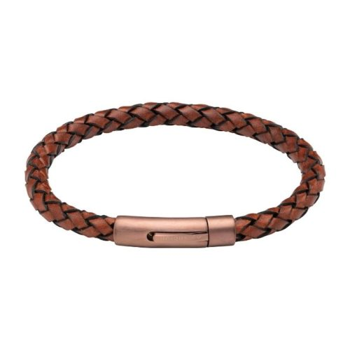UNIQUE & CO MEN'S LEATHER BRACELET WITH MATTE BROWN MAGNETIC CLASP