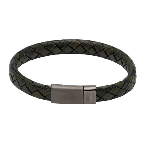 UNIQUE & CO MEN'S DARK GREEN LEATHER BRACELET WITH STEEL MAGNETIC CLASP