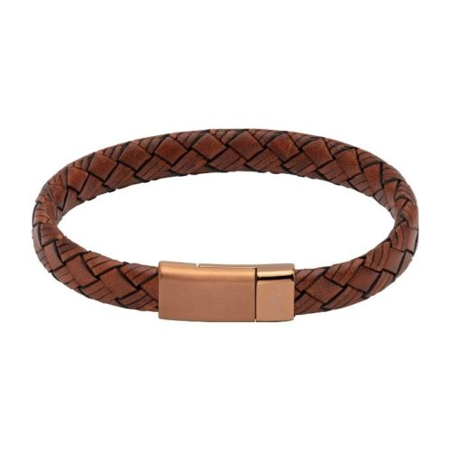 UNIQUE & CO MEN'S LEATHER BRACELET WITH BROWN MAGNETIC CLASP