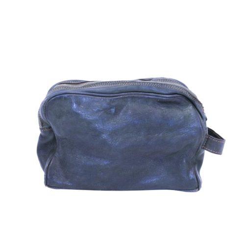 NICOLA Leather Wash Bag Navy