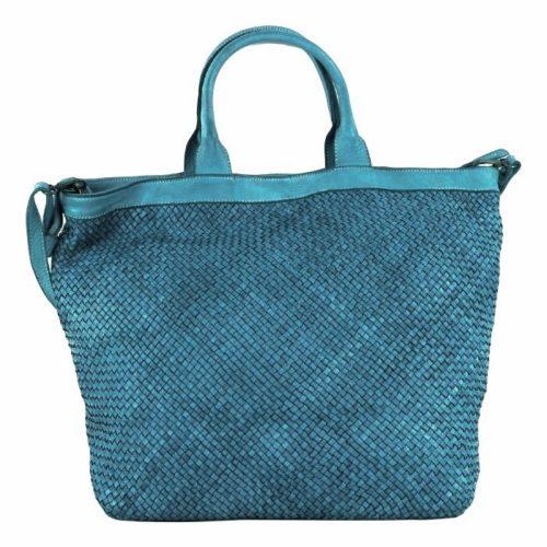 CHIARA Small Weave Tote Bag Teal