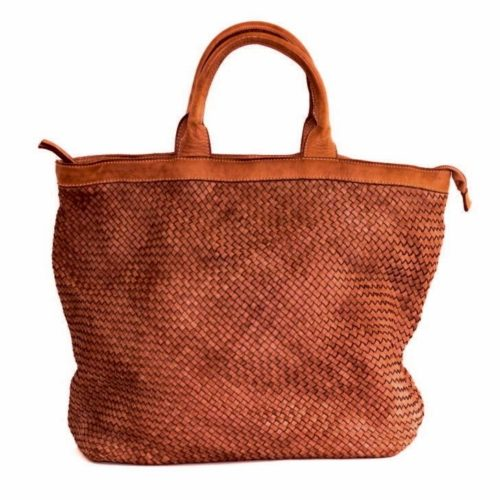 CHIARA Small Weave Tote Bag Terracotta