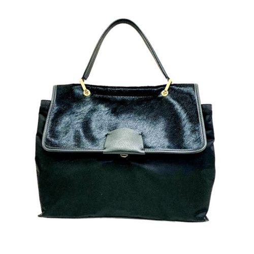 AMELIE Nylon & Pony Hair Hand Bag Black