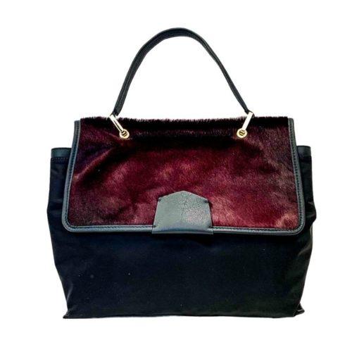 AMELIE Nylon & Pony Hair Hand Bag Bordeaux