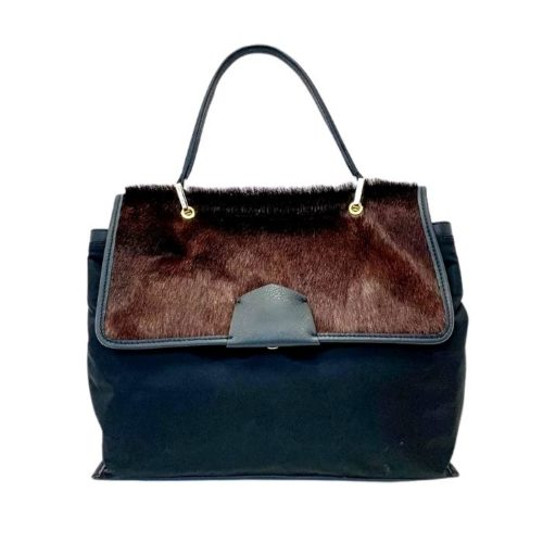 AMELIE Nylon & Pony Hair Hand Bag Dark Brown