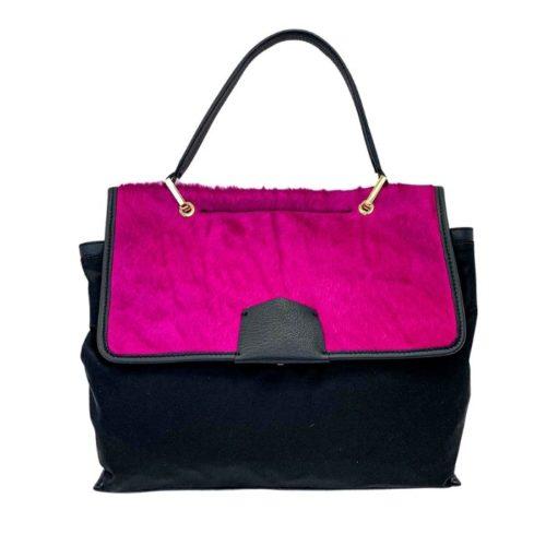 AMELIE Nylon & Pony Hair Hand Bag Fuchsia