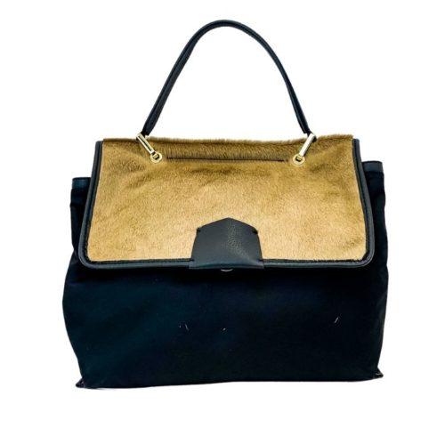 AMELIE Nylon & Pony Hair Hand Bag Light Taupe