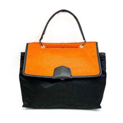 AMELIE Nylon & Pony Hair Hand Bag Orange