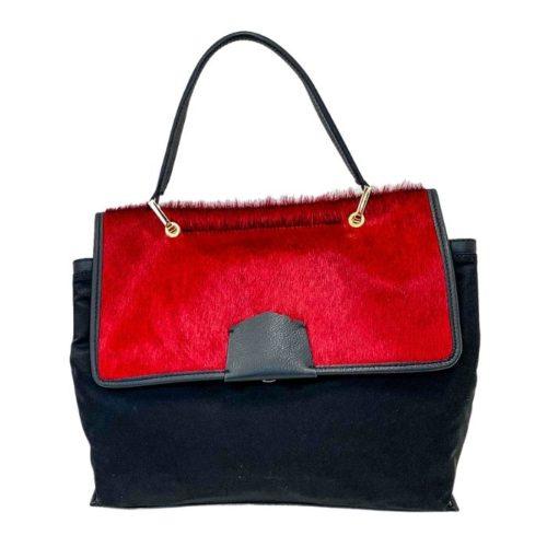 AMELIE Nylon & Pony Hair Hand Bag Red