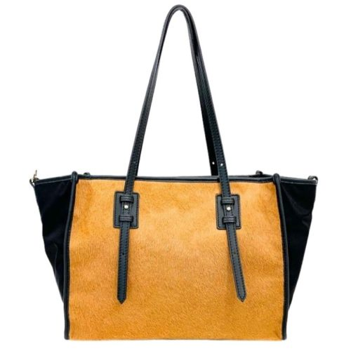 TILLA Pony Hair Shopper Mustard