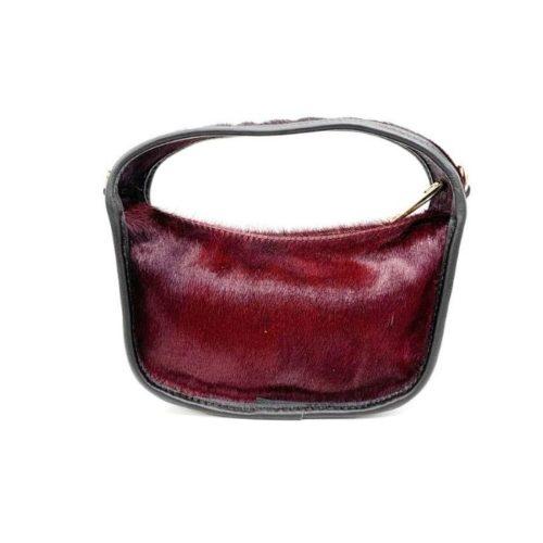 TIFFY Pony Hair Small Hand Bag Bordeaux