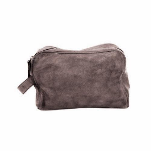 NICOLA Leather Wash Bag Dark Taupe