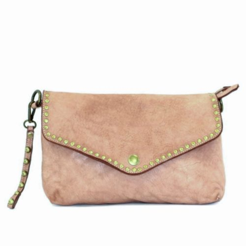 LAVINIA Studded Clutch Bag Light Taupe