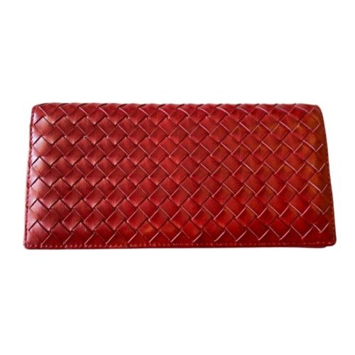 Woven Leather Wallet Red