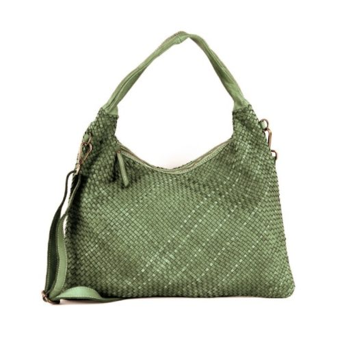 ANNA Woven Shoulder Bag Army Green