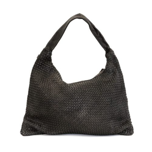 ANNA Woven Shoulder Bag Black