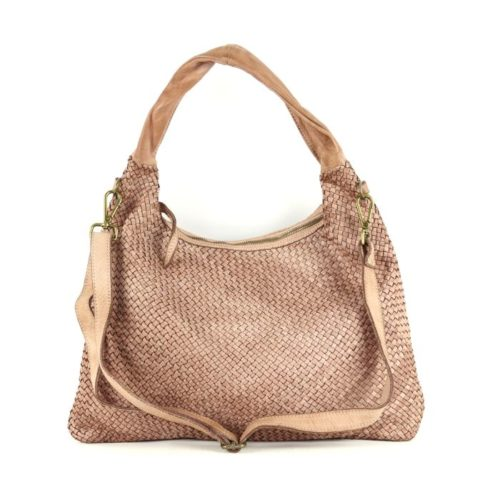 ANNA Woven Shoulder Bag Blush