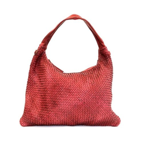 ANNA Woven Shoulder Bag Bordeaux