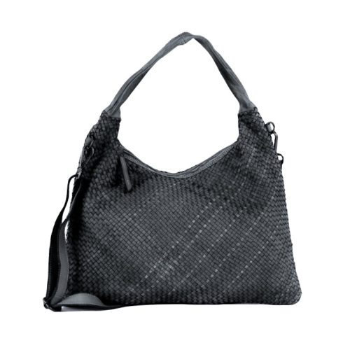 ANNA Woven Shoulder Bag Dark Grey