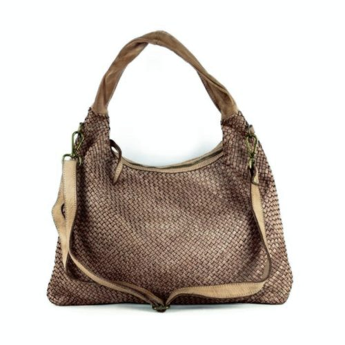 ANNA Woven Shoulder Bag Taupe