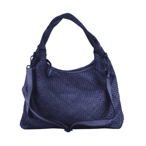 ANNA Woven Shoulder Bag Navy