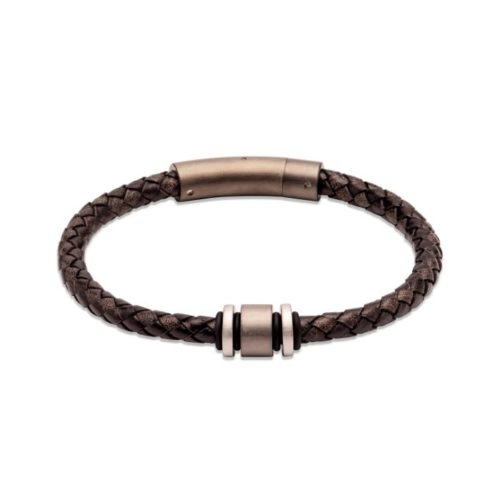 Unique & Co Men's Leather Bracelet With Brown & Steel Element – Black