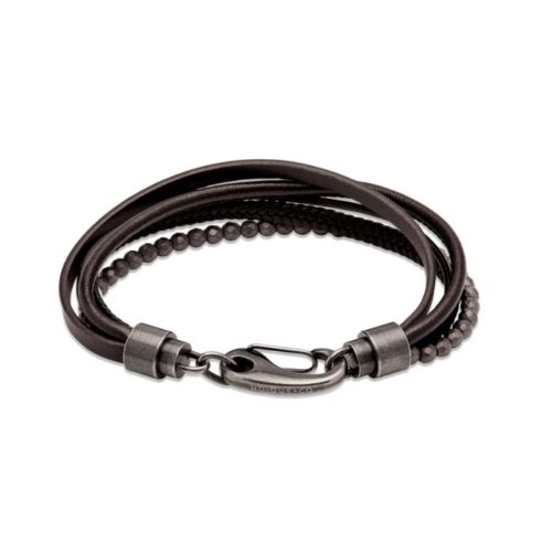 Unique & Co Men's Layered Leather Bracelet – Black