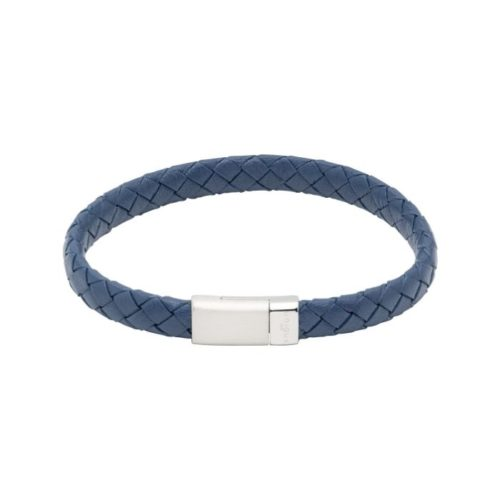 Unique & Co Men's Leather Bracelet And Stainless Steel Fastening – Blue