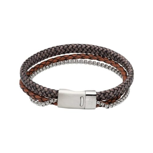 Unique & Co Men's Double Leather Bracelet With Chain – Antique Brown