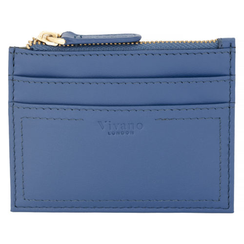 Card Case With Top Zip Sky Blue