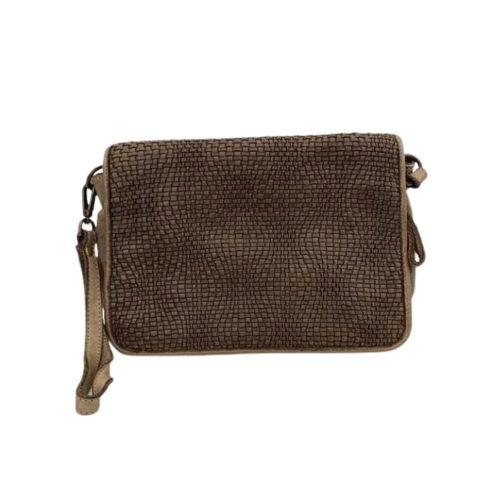 SILVINA Wave Weave Cross-body Bag Dark Taupe
