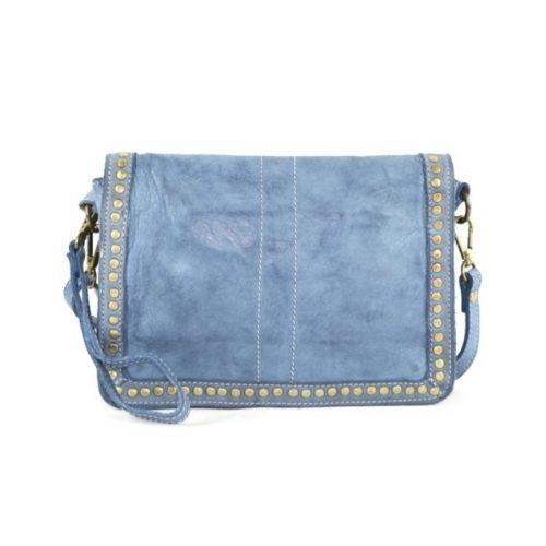 SILVINA Small Cross-body Bag With Studs Denim