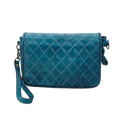 SILVINA Quilted Crossbody Bag Teal