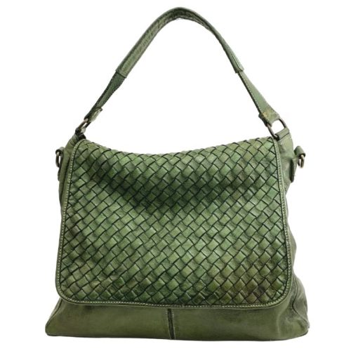 VIRGINIA Flap Bag With Wide Weave Army Green