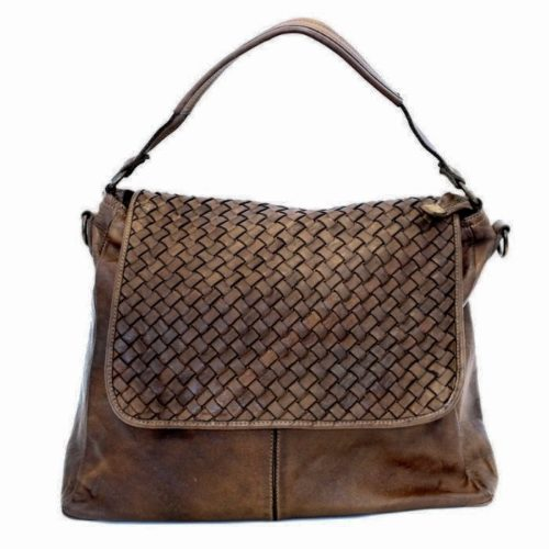 VIRGINIA Flap Bag With Wide Weave Dark Brown
